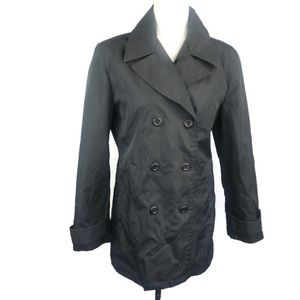 GAP Black Button Up Fully Lined Trench Coat Jacket